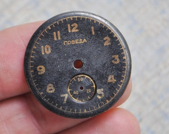 POBEDA black dial. Vintage Soviet Russian wrist watch face,dial.