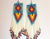 Native American Beaded Rug Earring in Turquoise with Quills Southwestern, Hippie, Boho, Geometric, Loom, Brick Stitch, Peyote  Ready to Ship