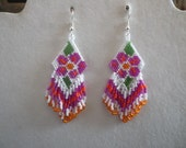 "Native American Spring Daisy Flower Hot Pink and Orange Beaded Earrings Gypsy, Brick Stitch, Peyote, Loom, Boho Southwestern ""Ready to Ship"""
