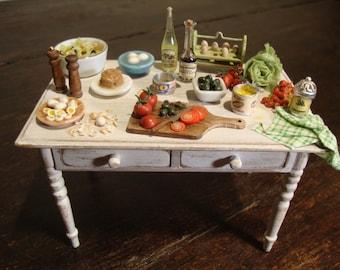 "dollhouse Miniature table set up   ""We prepare the big salad"""