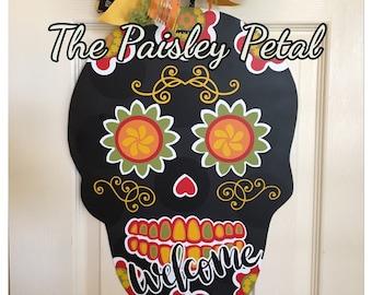 Sugar Skull, Dia de los Muertos - Day of the Dead -Door Hanger, Halloween Door Hanger