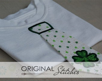 3D Shamrock Applique Tie St Patricks Day and Embroidery Digitized Digital Design File 4x4 5x7 6x10 7x11