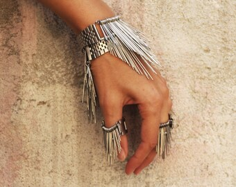 Modern stainless steel bracelet with recycling elements statement jewelry