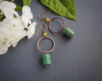 elegant jungle earrings, safari look, minimalist copper earrings, olive green, rustic style, chrysocolla, gift for her, summer jewelry