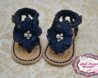 Baby sandals, crochet baby shoes, baby girl sandals booties girls navy sandals summer sandals 0-6 month baby shower gift