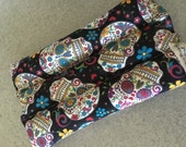 HOLIDAY SALE microwavable heating  pad rice flax pack neck wrap heat pad healing  extra long  pick scent calaveras skull