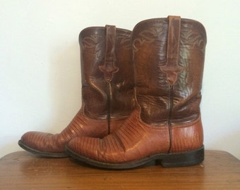 Vintage Lucchese Brown Leather & Lizard / Reptile Cowboy Western Boots Mens 8 1/2 D or Womens 10