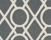 Two  26 x 26 Custom Pillow Covers Euro Shams  - Robert Allen Lattice Bamboo - Grey
