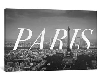 iCanvas B/W Paris Gallery Wrapped Canvas Art Print by 5by5collective