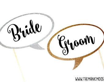 Bride and Groom Photo Booth Props -  GLITTER props - You Choose Glitter Colors - Photobooth Props