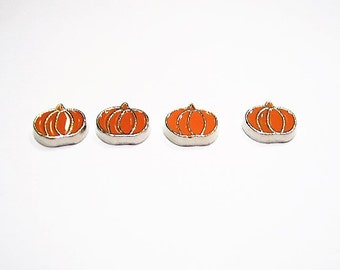 4 Enamel, Pumpkin, Floating / Memory Charms for Floating Origami Lockets, Orange
