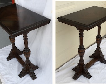 1930s side table vintage console trestle table Lentz Table Nashville Michigan end table mahogany