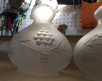 Victorian glass shades lamp shades (2) cut etched frosted berries grapes PAIR large unusual shape Victorian Edwardian