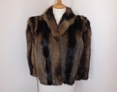 Vintage 1940s real cross fox or raccoon fur cape stole wrap shrug brown striped