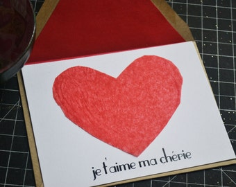 Valentine's Day Card - Red Heart - I Love You Flat Card in French - Feminine with Red Lined Envelope
