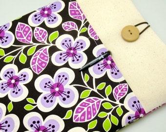 SALE - iPad Air case, iPad cover, iPad sleeve with 2 pockets, PADDED - Purple flowers (209)