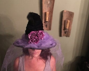 Witch Hat Black Ridged, with purple decorations