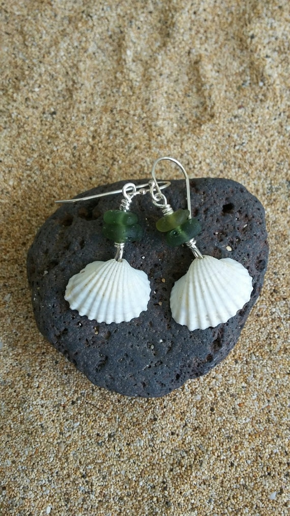 White Scallop Shell, Sea Glass, Beach Glass, Sterling Silver Earrings