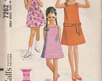 1964 Sewing Pattern McCall's 7262 girls dress size 8