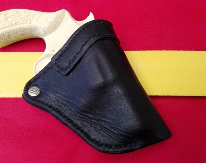 Handgun holster. leather holster, black leather holster, J frame holster. custom holster,  RHM 2