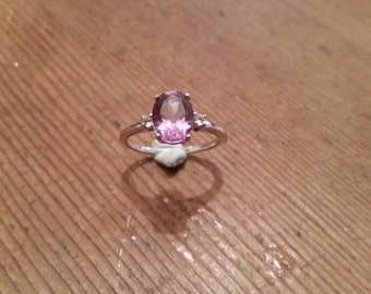 Amethyst and white topaz sterling silver engagement dress ring