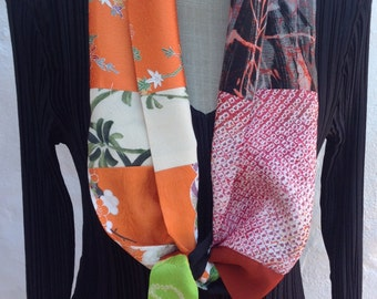 Short scarf with ties, vintage kimono patchwork FREE SHIPPING