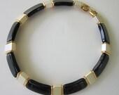 40% OFF Vintage Napier Black, Gold, White Pearl Lucite Choker Necklace