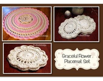 Crochet Pattern Set Crochet Patterns Placemat Pattern Crochet Coaster Pattern Graceful Flower Placemat Set Round Placemat Coaster Home Decor