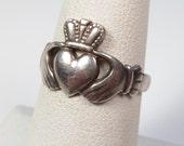 "Vintage Irish Claddagh Ring Made in Ireland ""FAC"" Silver Size 7-1/4 Celtic Vtg"