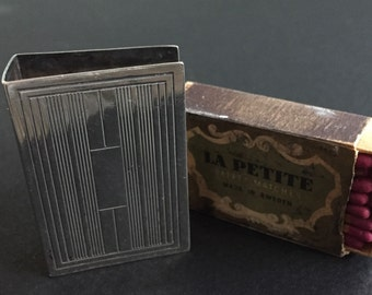 STERLING SILVER Matchbook Cover and Matches - Made In SWEDEN - Dad Gift - Art Deco - Best Man Gift - Powder Room