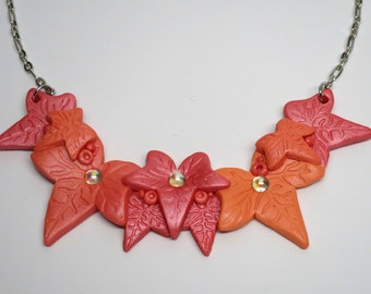 Polymer Clay Pendant Ivy Garland Necklace in Sunset Pearl
