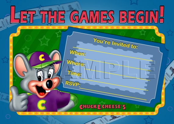 chuck e cheese's birthday invitation instant download, Birthday invitations