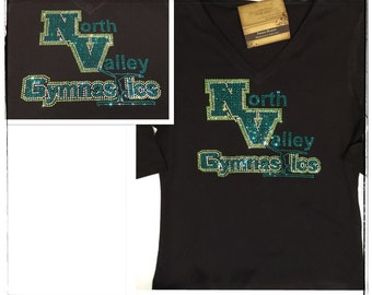 Bling North Valley Gymnastics Custom Rhinestone Shirt