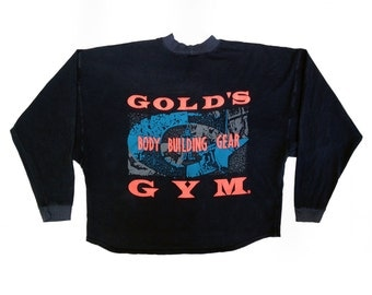 Bodacious 80s Neon Gold's Gym Wide Cropped Muscle Crewneck - L