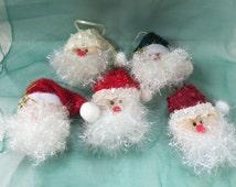 Vintage Santa Claus Faces Ornaments Soft Sculpture