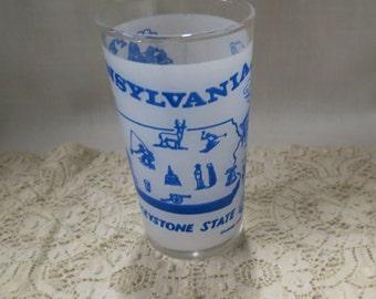Pennsylvania Souvenir Tumbler Glass Vintage Frosted Glass The Keystone State Kitchenware Kitchen Ware