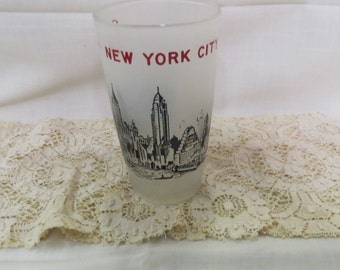 New York City Souvenir Tumbler Glass Skyline Vintage Frosted Glass Kitchen Ware Kitchenware