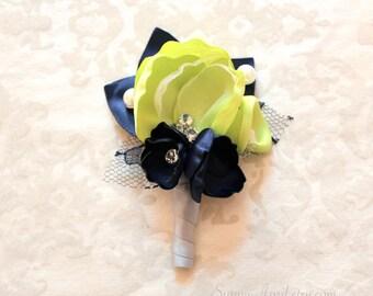 Chartreuse Green Navy Blue Boutonniere/ Handmade Wedding Accessory