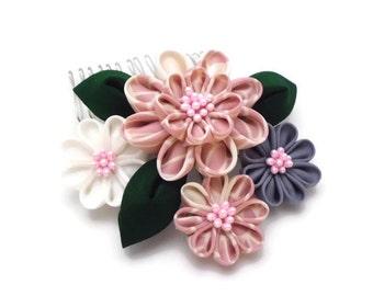 Pink White Lavender Kanzashi Flower Hair Comb, Tsumami Kanzashi, Repurposed Kimono, Japanese Hair Ornament, Oriental, Bridal, Hairpiece
