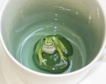 Frog on Lily Pad Surprise Mug (Made to Order)