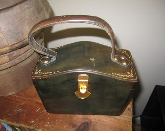 Fabulous Vintage Leather Handbag for Display. Green and Gold Handbag. Vintage Pocket Book. Accessory.