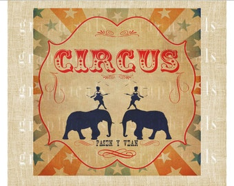 Circus poster Elephants instant digital download image for crafts decoupage iron on Fabric transfer burlap pillows tote bags tags No. 2260