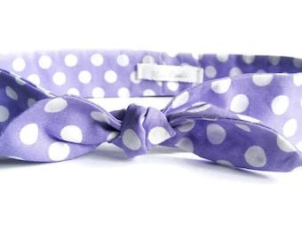 Lavender Polka Dot Headband - Bow Cotton Fabric Headband - Bow Headwrap