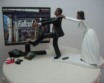 Fall 4 Funny Wedding Cake Topper Video Gamer Bride & Groom Running Afrian American Hispanic Indian XBox 1 Video Game Junkie Dogmeat Dog OUT