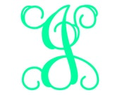 "6"" Vine Monogram Vinyl Decal Sticker - 1 Initial - 26 Colors to Choose From"
