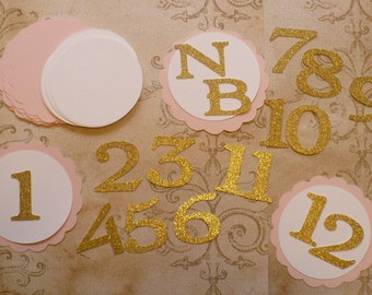 Scallop Circles Princess Gold Glitter Letters NB 1 - 12  Die Cuts DIY Kids Crafts Birthday Party Banners Baby Girl