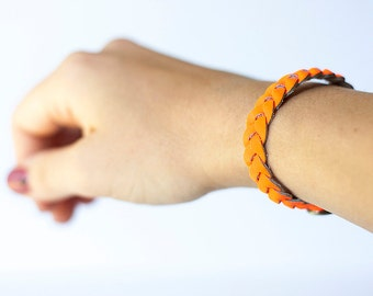 Braided Leather Bracelet / Neon Orange