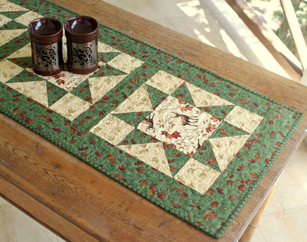 Deer Table Runner Quilted Fall Table Runner Autumn Leaves