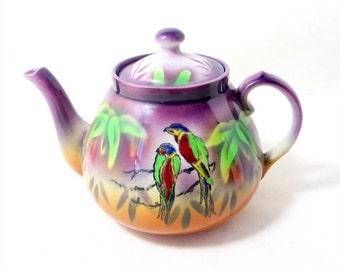 SALE! Art Deco Parrot Tea Pot, Large 2.5 Pint Handpainted Purple Parrots Macaws 'Gretna' Earthenware Teapot 1930s