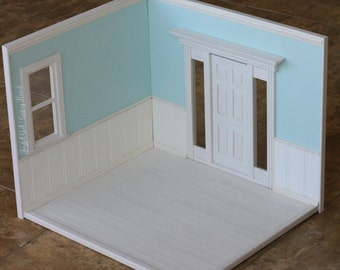 Playscale Blythe Mint Blue and White Diorama Roombox